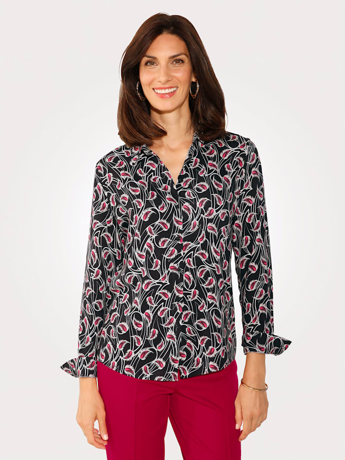 MONA Blouse with a floral print, Red/Black