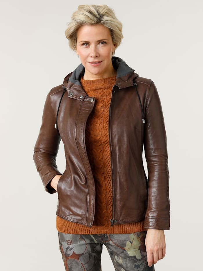 MONA Leather jacket in a modern design, Brown