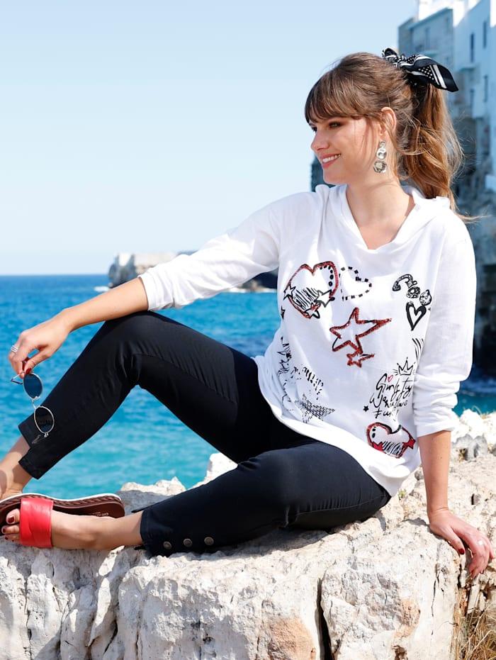 MIAMODA Longshirt mit dekorativer Meshkapuze, Weiß/Rot/Schwarz