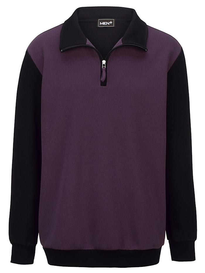 Men Plus Sweatshirt aus reiner Baumwolle, Lila/Schwarz