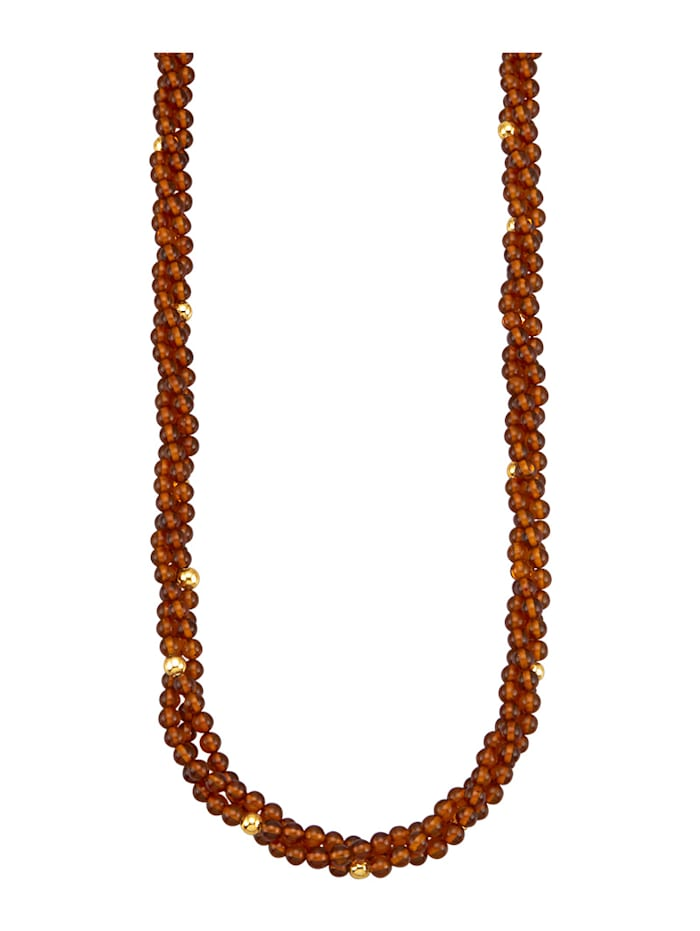 Amara Pierres colorées Collier 3 rangs en ambre, Marron
