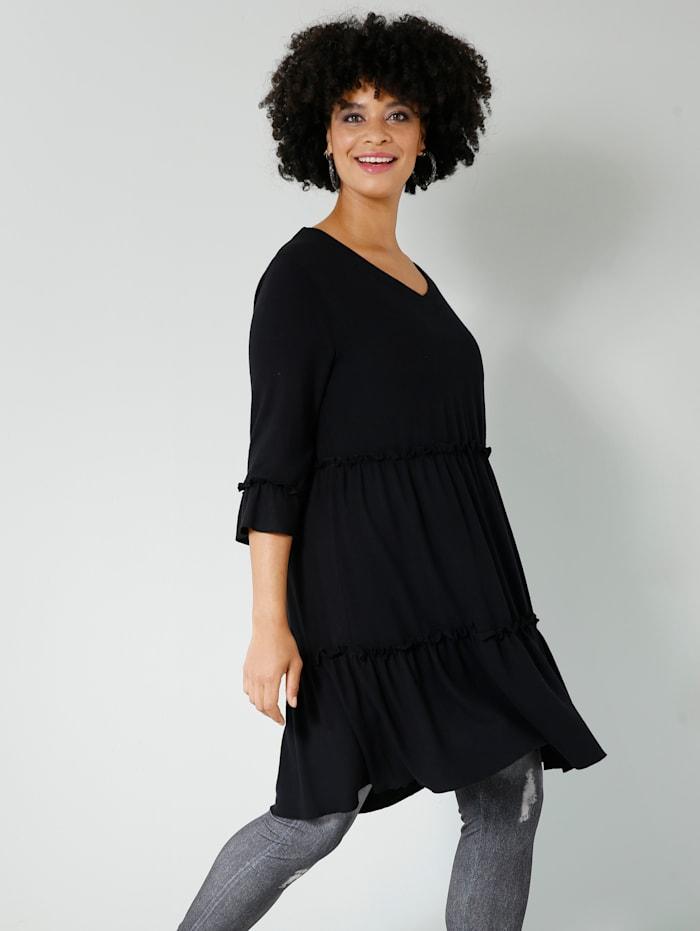 Angel of Style Tunika-Shirt in Feinstrick-Qualität, Schwarz