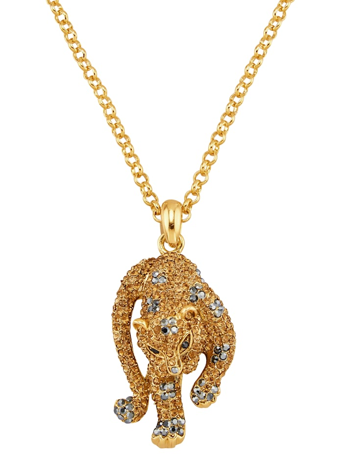 Golden Style Hanger Luipaard met ketting, Geelgoudkleur