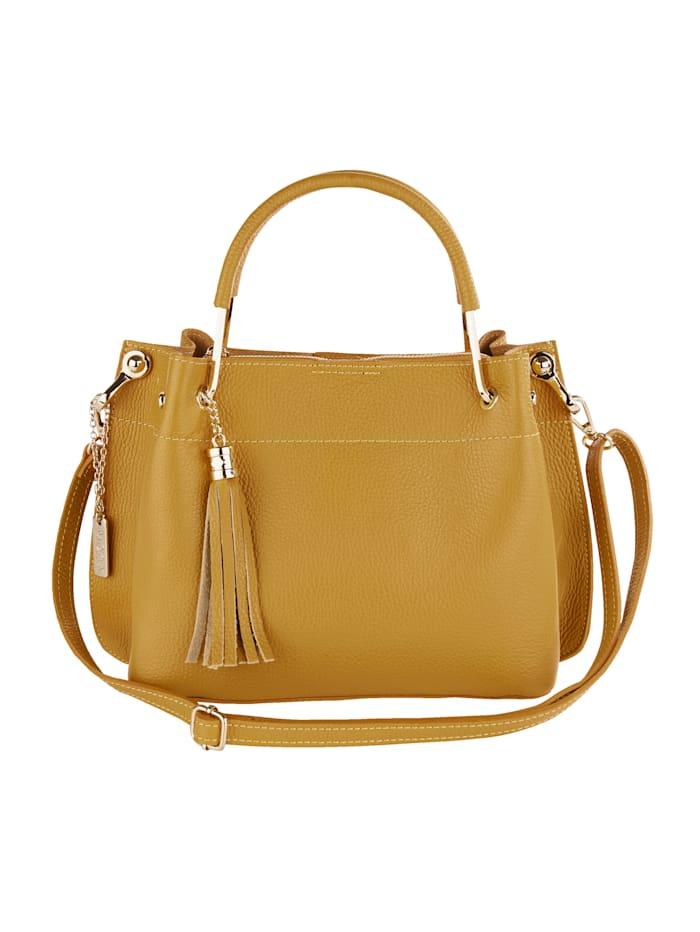 Handtasche mit abnehmbarem Schmuckanhänger und Quaste, senfgelb