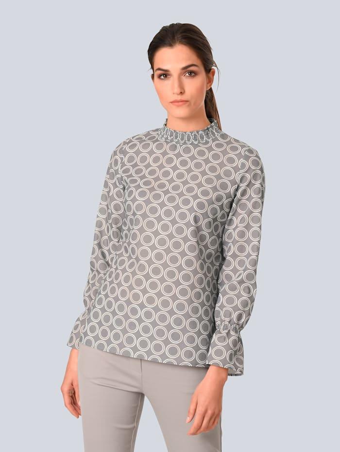 Alba Moda Bluse im Punkte-Dessin, Grau/Weiß