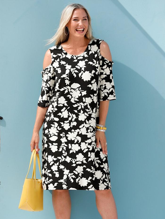 MIAMODA Jerseykleid mit Cold-Shoulder und Schleifendetail, Schwarz/Weiß