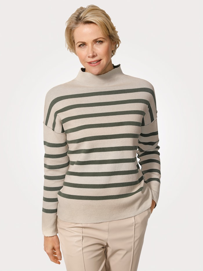 MONA Pullover aus trageangenehmer Baumwoll-Qualität, Tannengrün/Kitt
