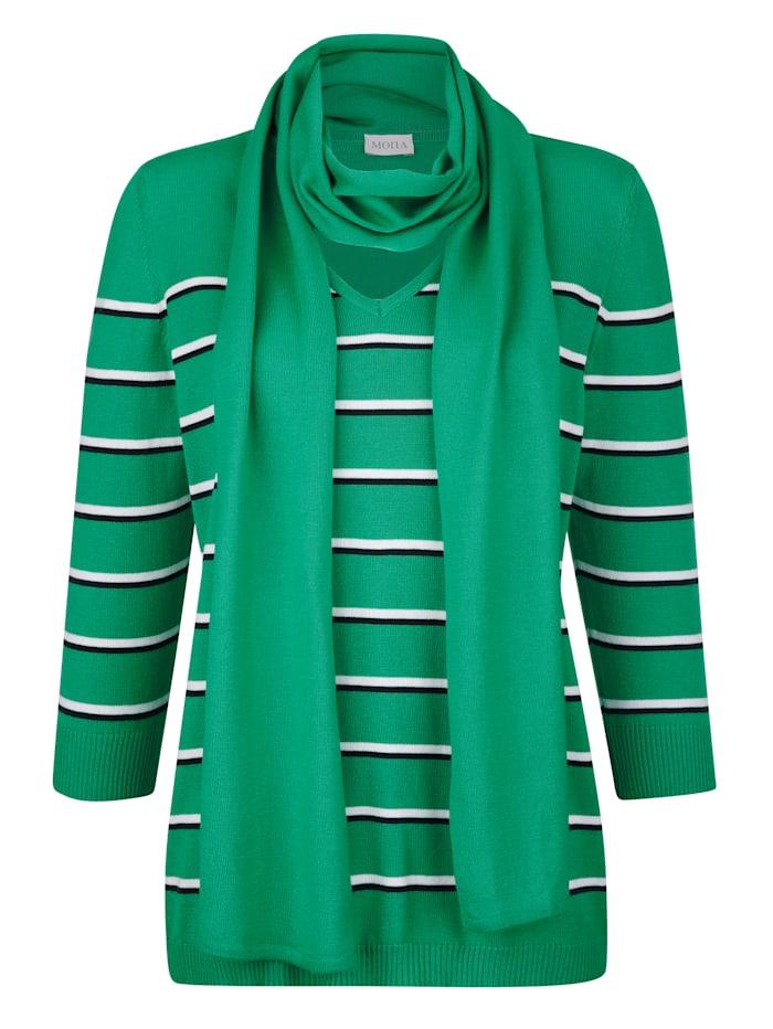 MONA Pullover mit Schal, Grün/Marineblau/Natur