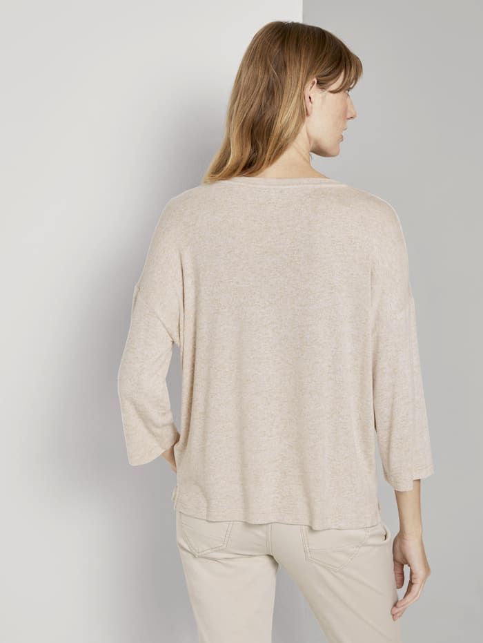 Meliertes Shirt mit 3/4-Arm