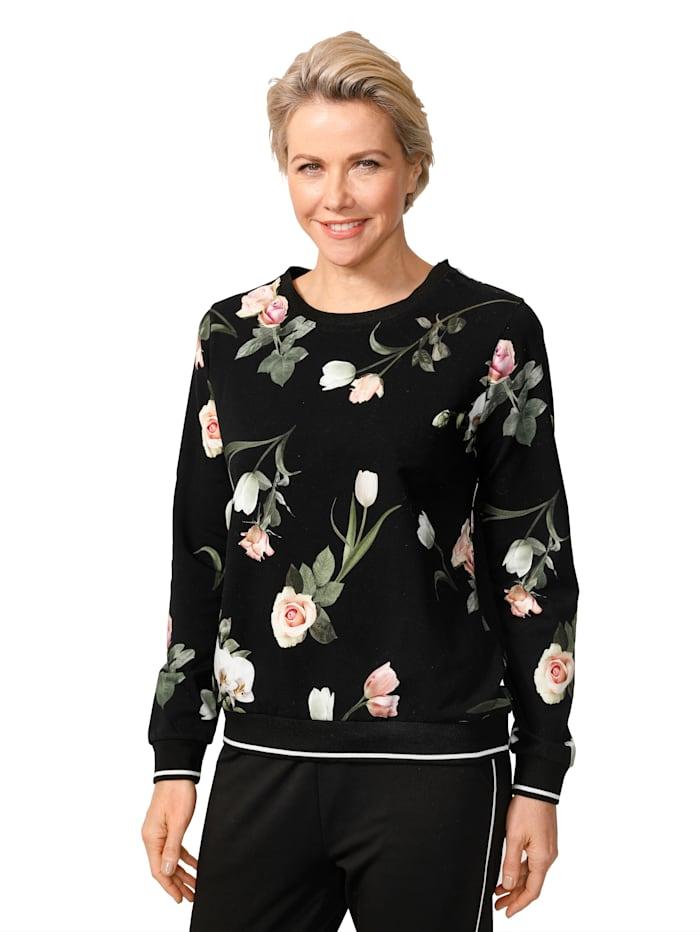 MONA Sweatshirt mit fotorealistischem Blumen-Druck, Schwarz/Dunkelgrün/Rosé