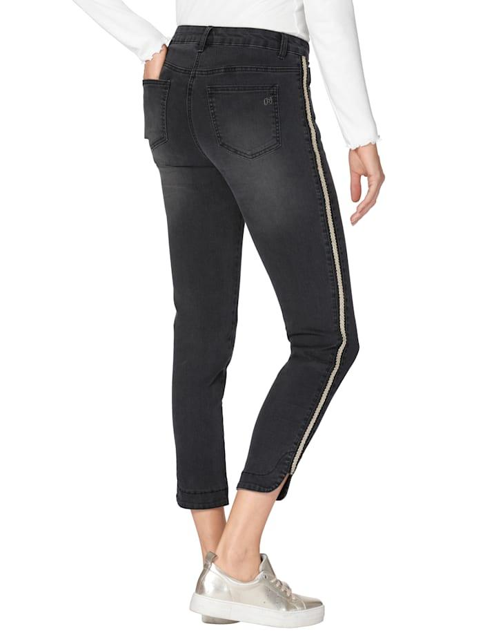 Jeans met opgestikte sierband opzij