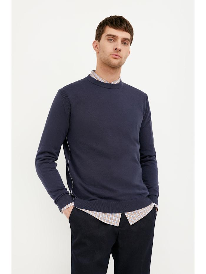 Finn Flare Basic-Pullover mit bequemen Rippbündchen, dark blue