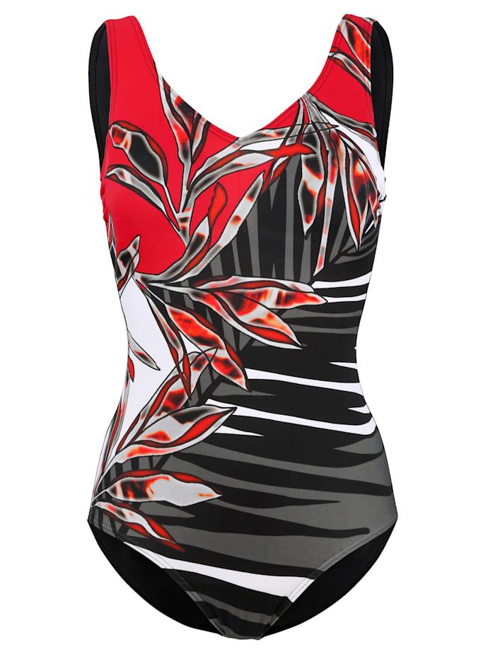 Maritim Badeanzug im klassischen Design, Schwarz/Rot/Weiß