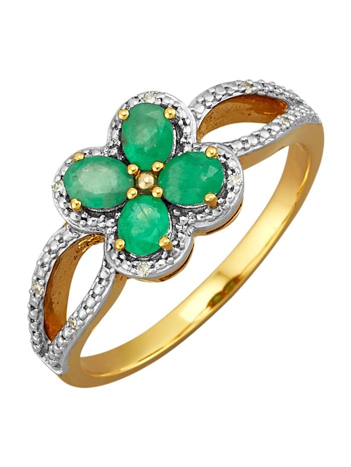 Diemer Farbstein Damenring mit Smaragden und Diamanten, Grün