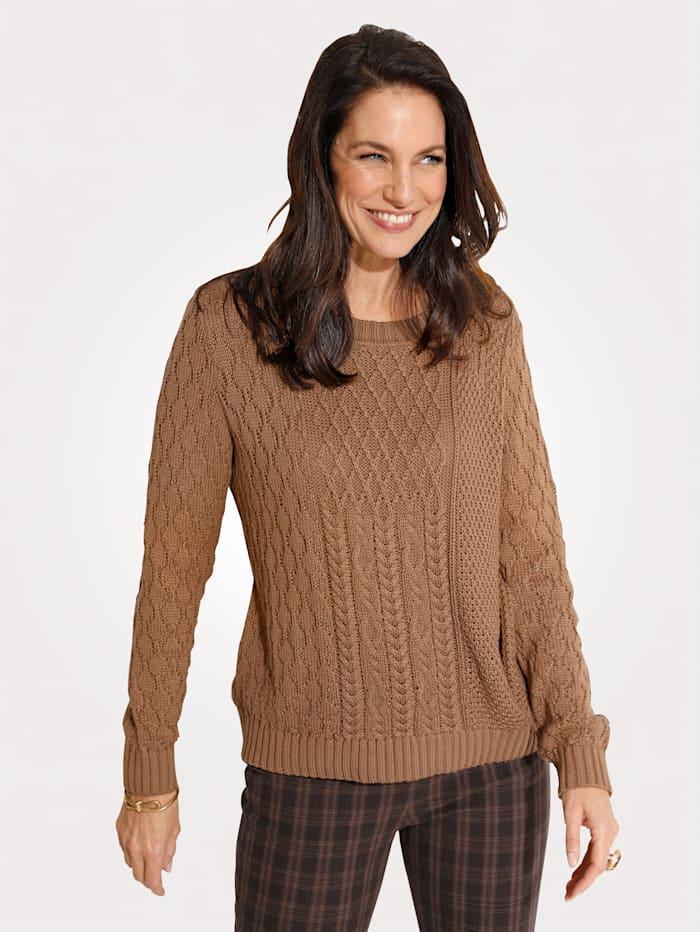 MONA Pullover im Strickmix, Hellbraun