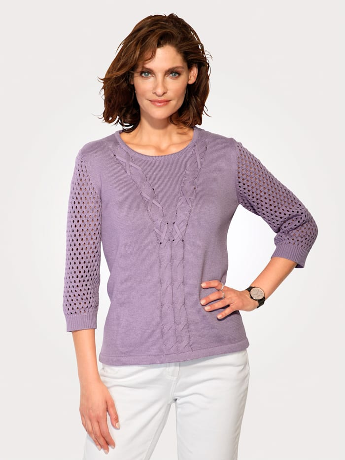 MONA Jumper with ajour knit sleeves, Lilac