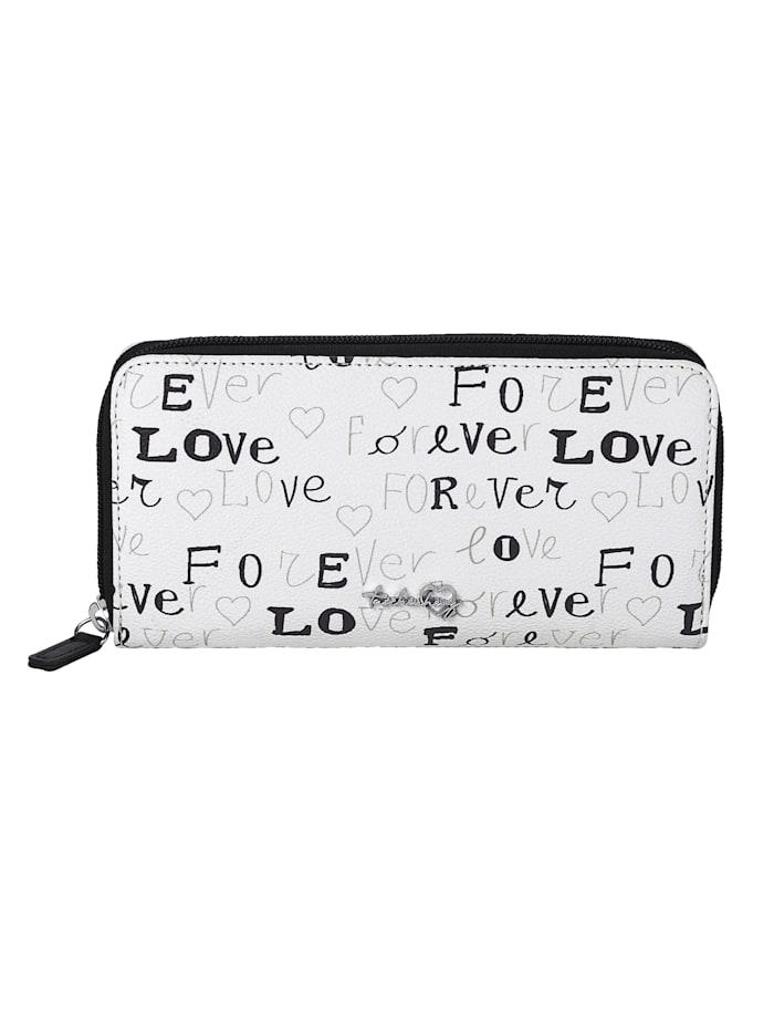 Taschenherz Geldbörse aus hochwertigem Softmaterial, weiß/schwarz