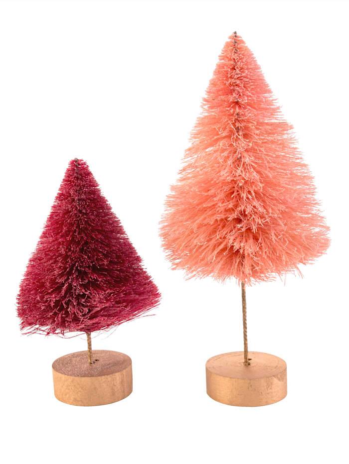IMPRESSIONEN living Lot de 2 sapins de Noël, Rose vif/rose