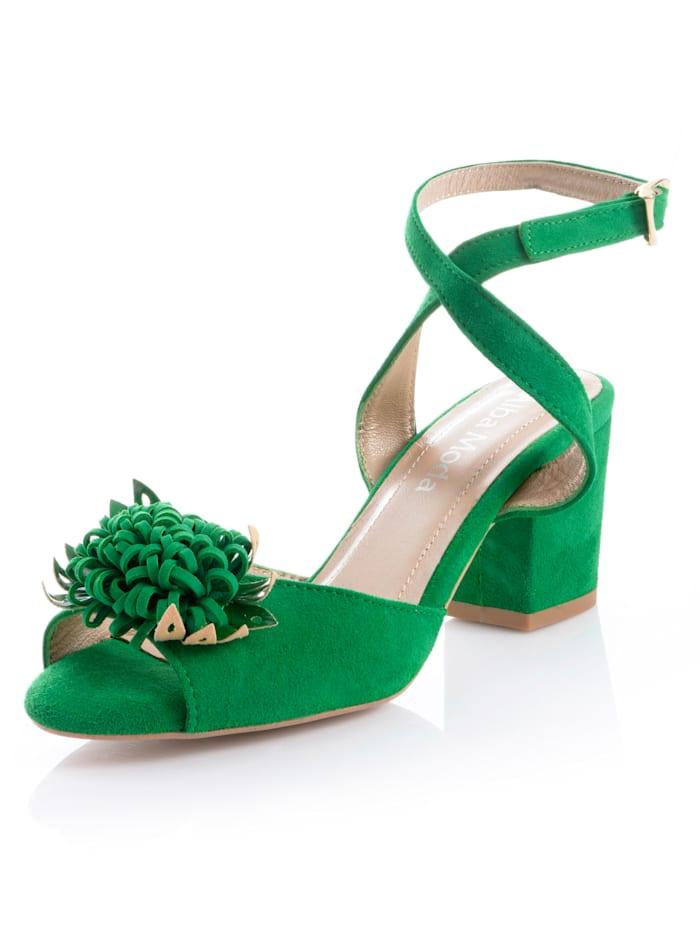 Alba Moda Sandalette aus weichem Ziegenveloursleder, Grün