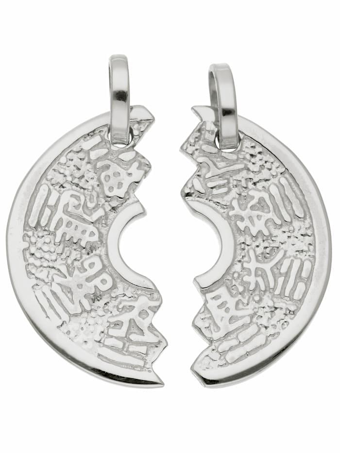 1001 Diamonds Damen Silberschmuck 925 Silber Anhänger Partneranhänger Ø 18,3 mm, silber