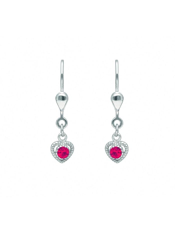 1001 Diamonds 1001 Diamonds Damen Silberschmuck 925 Silber Ohrringe / Ohrhänger Herz mit Glasstein, bunt/multi