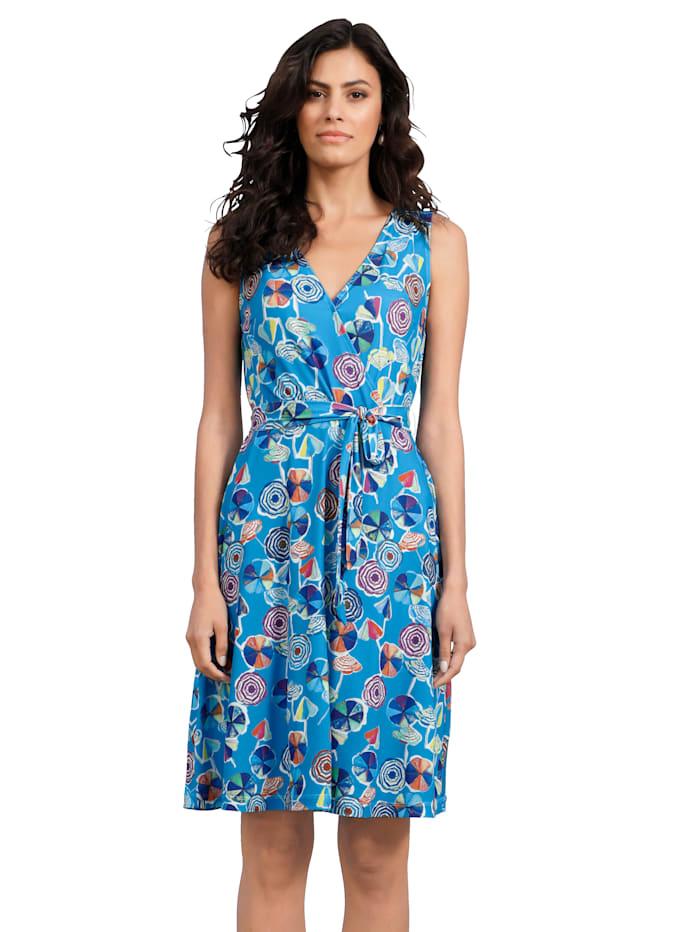 AMY VERMONT Jersey jurk in wikkellook, Lichtblauw/Paars/Geel