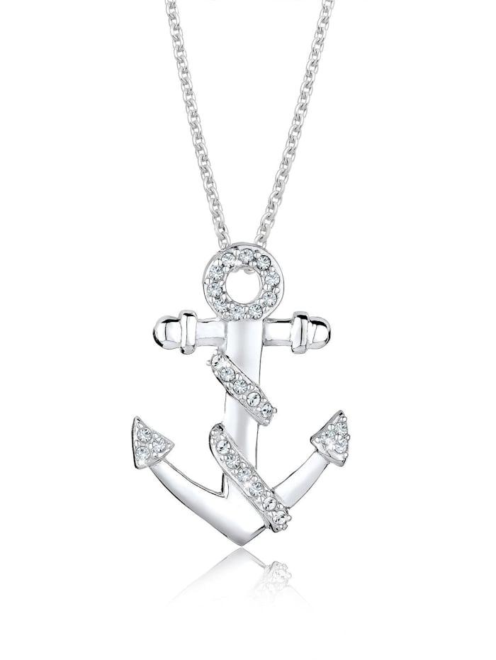 Elli Halskette Anker Meer Kristalle 925 Silber, Weiß