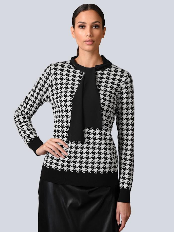 Alba Moda Pullover mit Chiffon-Kragen, Schwarz/Weiß