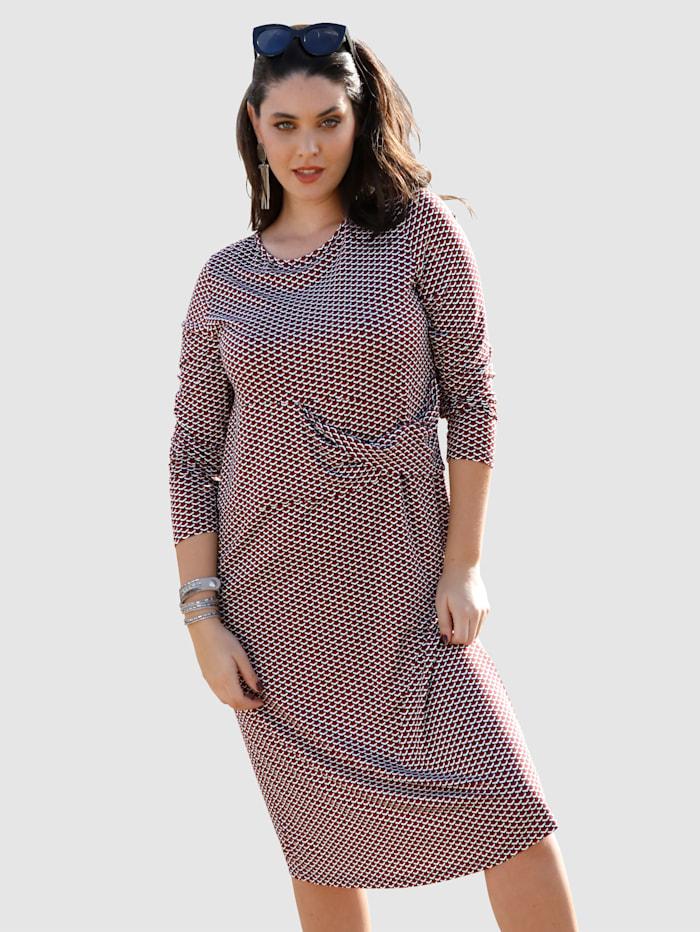 MIAMODA Jerseykleid mit grafischem Druck, Bordeaux/Marineblau/Weiß