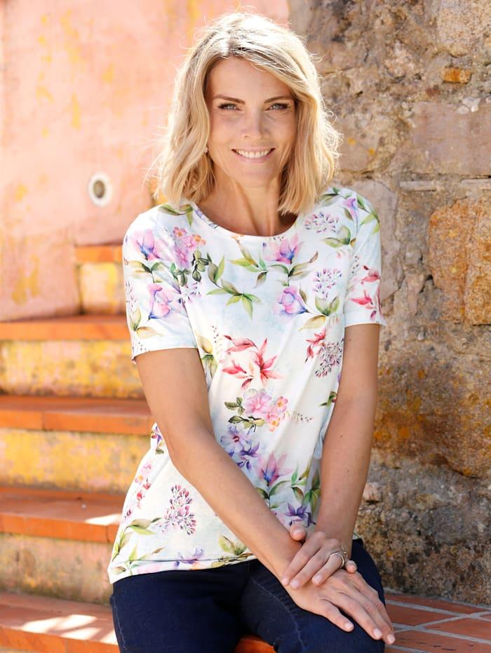 Paola Shirt met bloemendessin, Ecru/Paars/Olijf