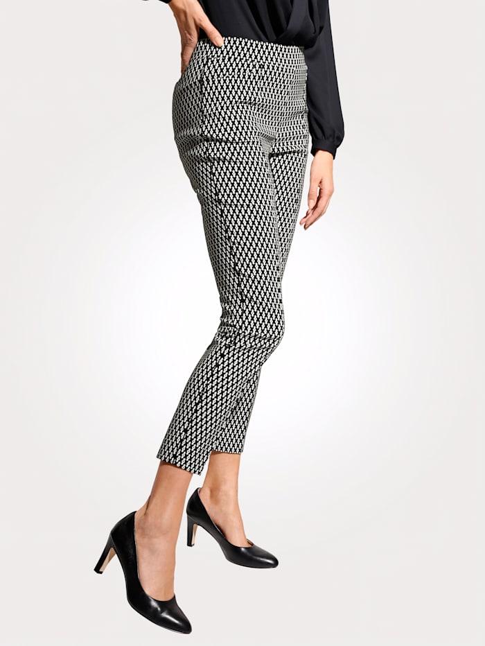 MONA Pantalon facile à enfiler avec passepoil décoratif à la couture côté, Noir/Blanc