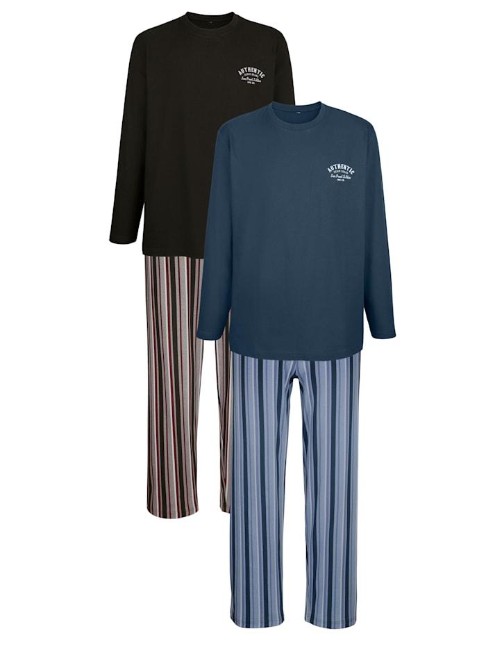 G Gregory Pyjamas 2-pack, 1 blå, 1 antracitgrå/bordeaux