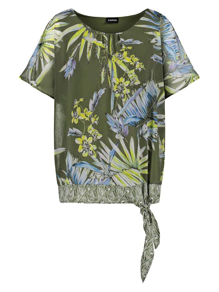 Taifun 2-in-1 Blusenshirt mit Floral-Print, Botanical Green gemustert