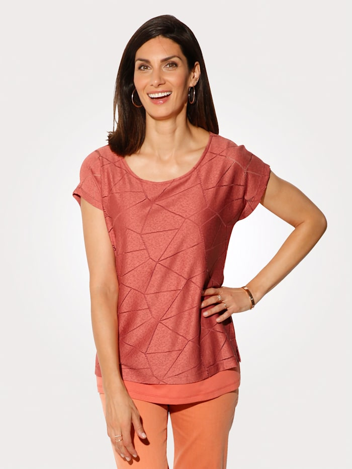 MONA Top in a layered look, Salmon Pink