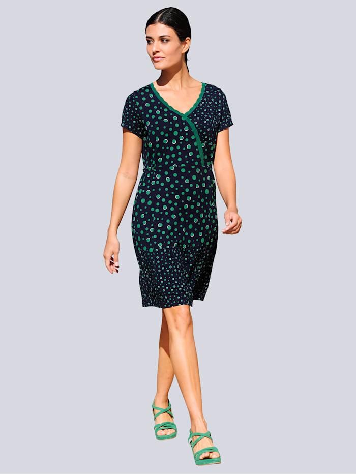 Alba Moda Jersey jurk met stippendessinmix, Marine/Groen