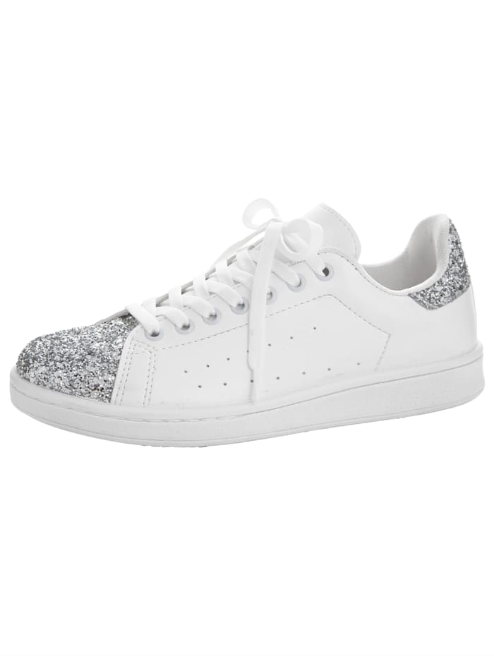 Sneaker met glitter, Wit
