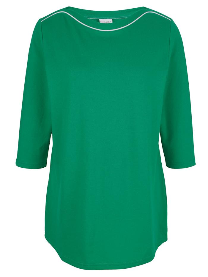 MIAMODA Shirt mit Paspel am Ausschnitt, Grün