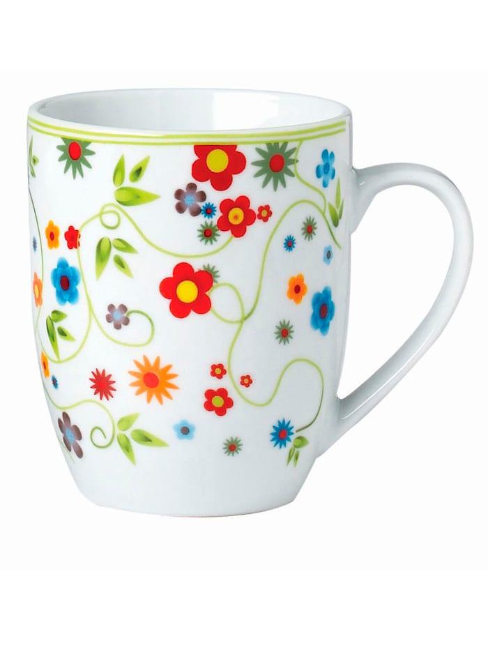 Van Well 6er-Set Kaffeebecher 'Vario Flower', Mehrfarbig