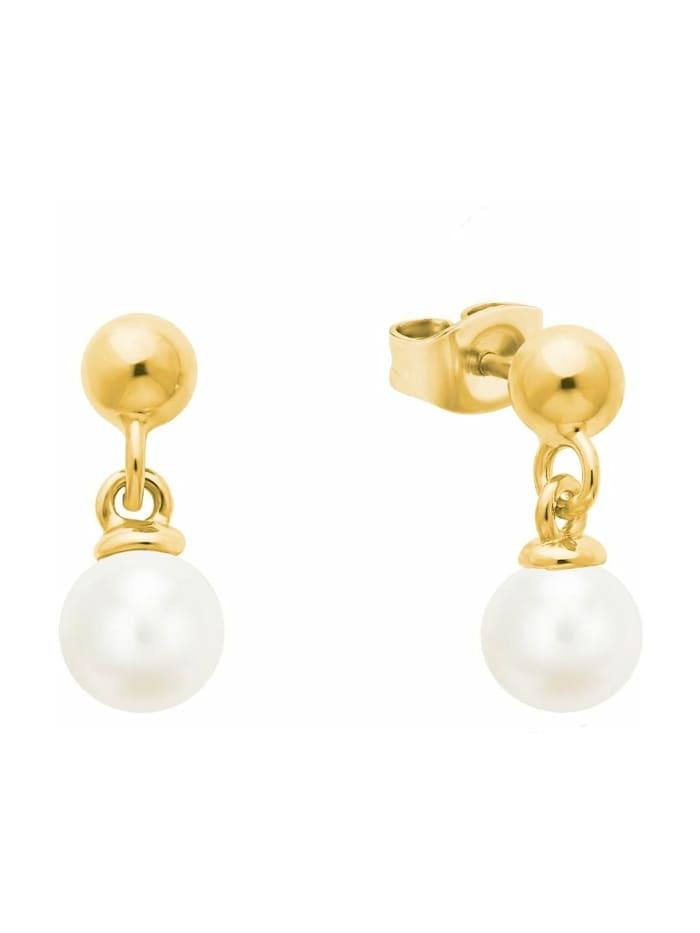 s.Oliver Ohrring für Damen mit Perlen aus gelbvergoldetem Sterling Silber 925, Gold