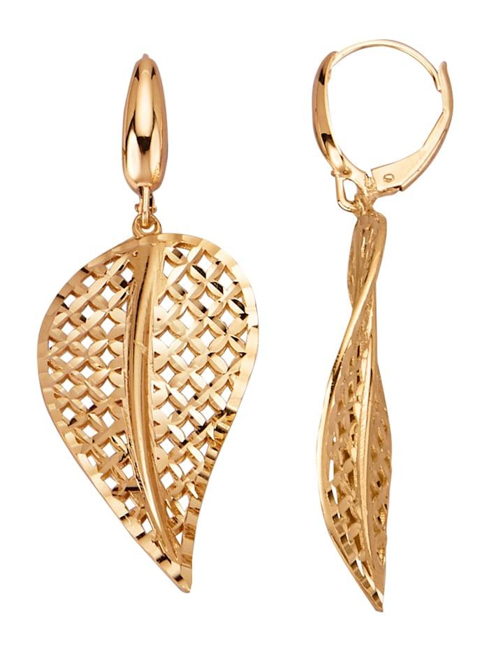 Diemer Gold Blatt-Ohrringe in Gelbgold 585, Gelbgoldfarben
