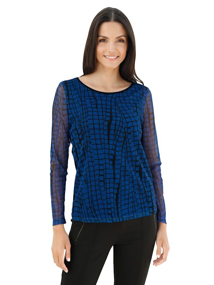 AMY VERMONT Shirt met grafisch patroon rondom, Royal blue/Zwart