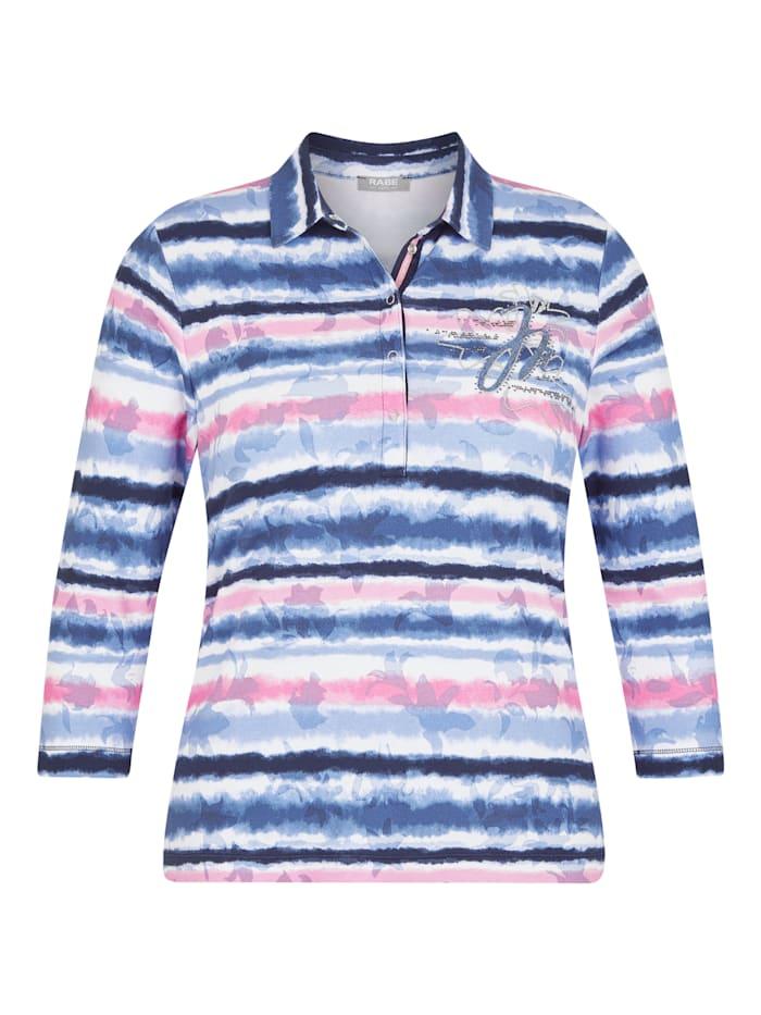 Rabe Shirt mit geringelten, floralen Elementen und Glitzersteinen, MARINE