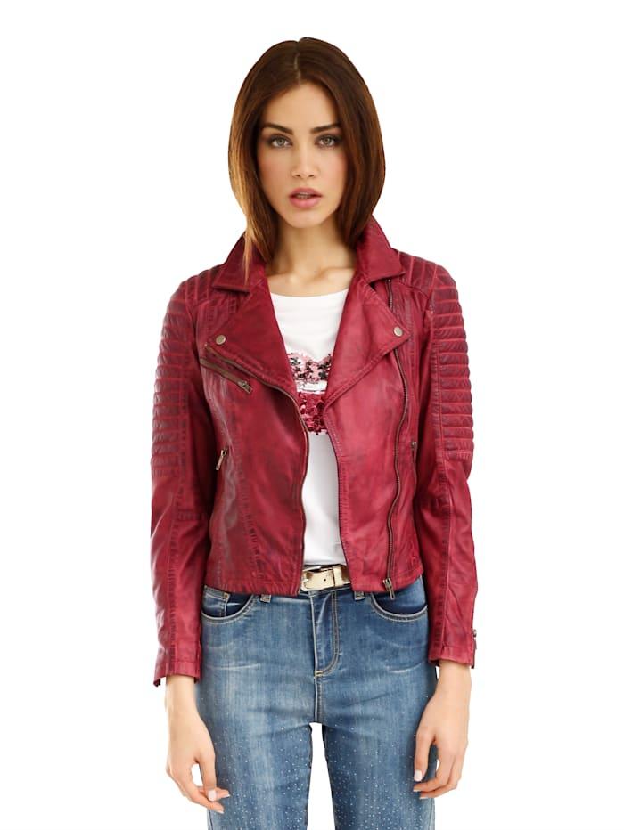 AMY VERMONT Veste en cuir de style motard, Rouge