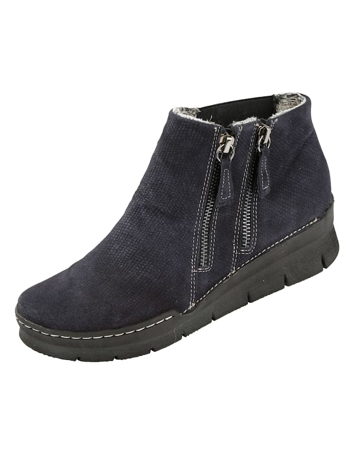Relaxshoe Ankle boots with embossed suede leather, Dark Blue