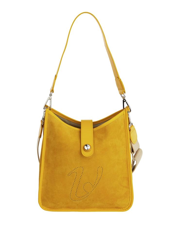 Vamos Umhängetasche aus feinem Leder, gelb