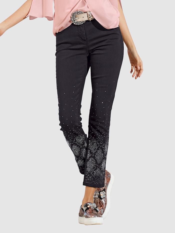 AMY VERMONT Jeans mit Strasssteindekoration im Vorderteil, Black