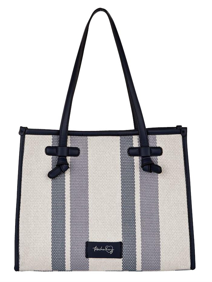 Taschenherz Shopper 2-tlg. mit einer Innentasche 2-teilig, Blau/Off-white