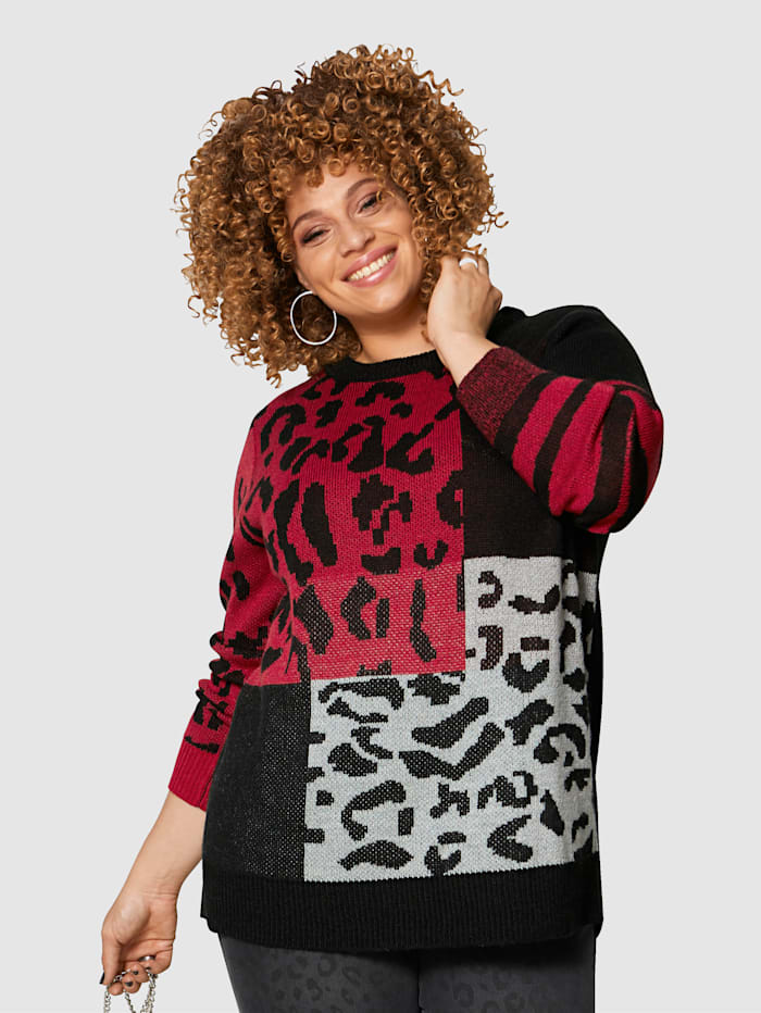 Angel of Style Pull-over à effet mohair, Rouge/Noir/Gris