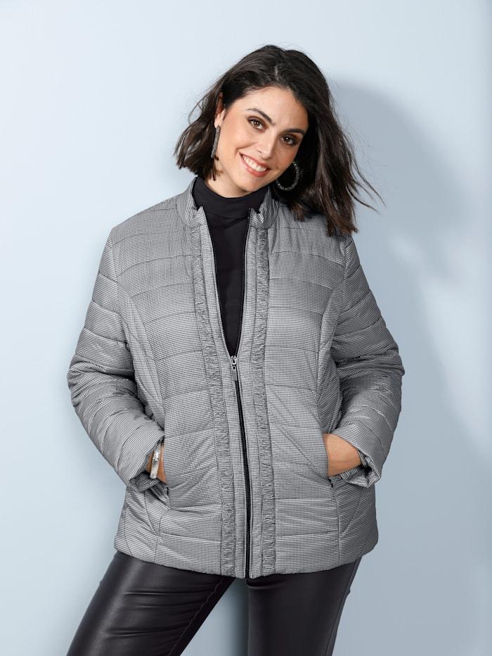 MIAMODA Jacke mit schöner Raffung am Verschluss, Schwarz/Weiß