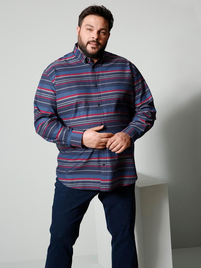 Men Plus Hemd Spezialschnitt, Marineblau/Rot